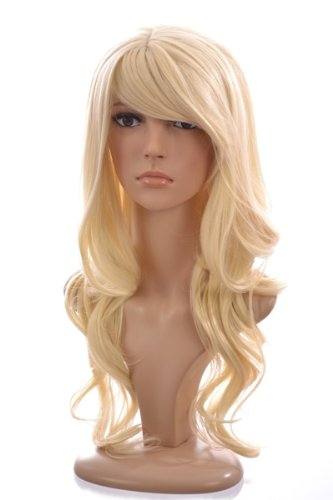 Long Bleach Blonde Wavy Wig | In the style of Lindsay Lohan | Soft Fringe | Face - Lindsay Lohan Style