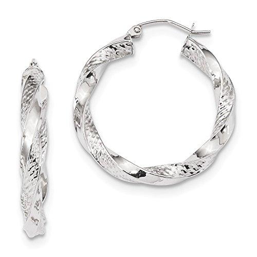 Mia Diamonds 10K White Gold Polished and Textured Twist Hoop Earrings