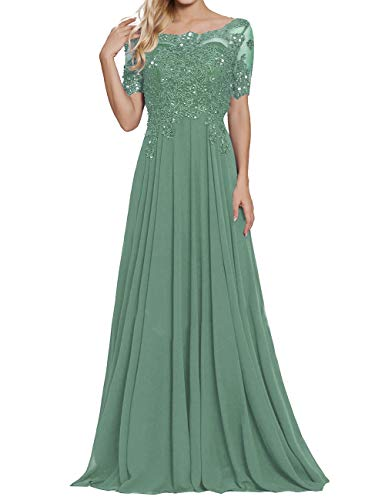 Long Evening Dresses Chiffon A Line Formal Party Gown Mother Wedding Dress Pastel Green US12 (A-line Length Floor Gown)