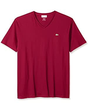 Men's Short Sleeve Jersey Pima Reg Fit V Neck T-Shirt-TH6710, Bordeaux, 2