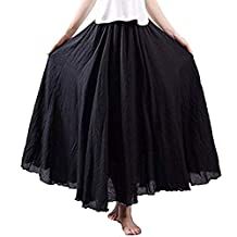 Sumen Women's Elastic Waist Pleated Cotton Linen Long Maxi Skirt Dress