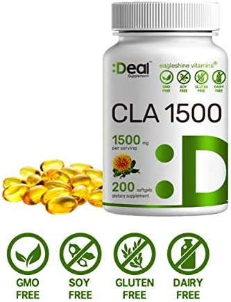 Deal Supplement CLA 1500mg Per Serving, 200 Softgels, Super Extra Strength 95% Conjugated Linoleic Acid from Safflower Oil, Manage Weight and Lean Muscle 4