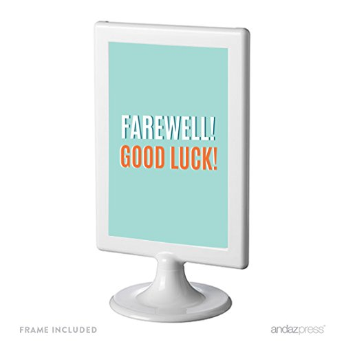 Andaz Press Farewell Retirement Party Decorations, Farewell! Good Luck!, Framed Party Sign, 4x6-inch, 1-Pack