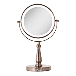 Rose Gold Zadro Next Generation Two-Sided LED Lighted Vanity Swivel Mirror with 1X & 8X magnification
