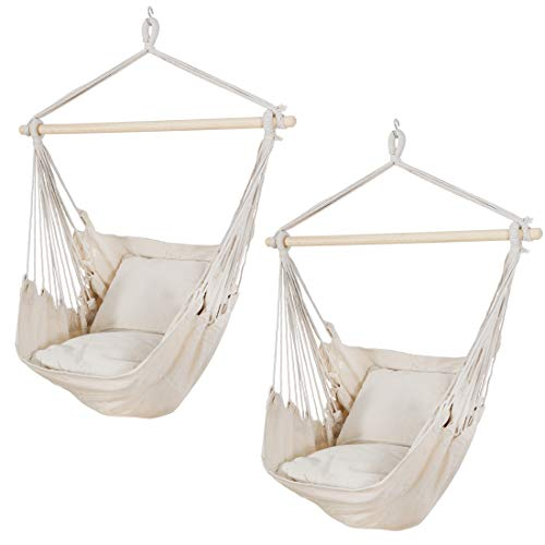 SUPER DEAL Portable Hanging Rope Swing with 2 Seat Cushions – 330 LBS Capacity Cotton Hammock Chair with Carrying Case…