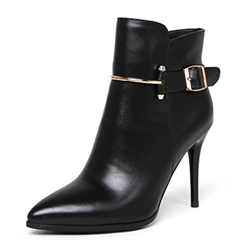 Sexy Winter Heeled MERUMOTE for Women's Boots Shoes Thin Pointed Booties Leather 2017 Black Toe PxqCB