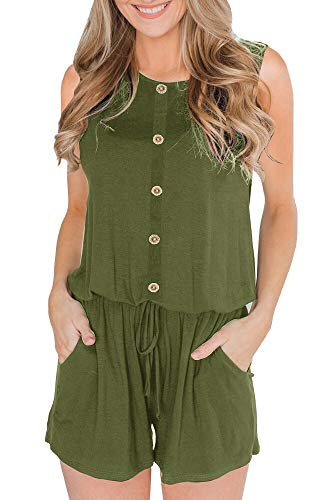 ETCYY Women's Summer Casual Sleeveless Button Waist with Belt Jumpsuit Rompers with Pockets Army Green ()
