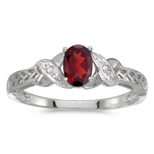 - 0.47 Carat (ctw) 14k White Gold Oval Red Garnet and Diamond Crossover Infinity Antique Promise Fashion Ring (6 x 4 MM) - Size 9.5