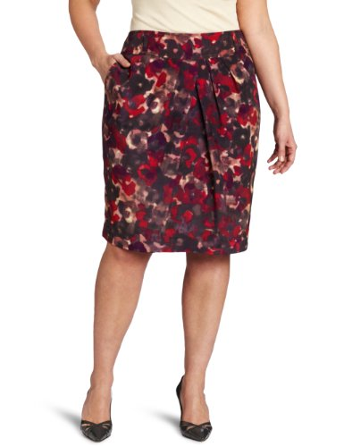 Jones New York Women's Plus-Size High Waist Pleat Front Skirt, Multi, 18W