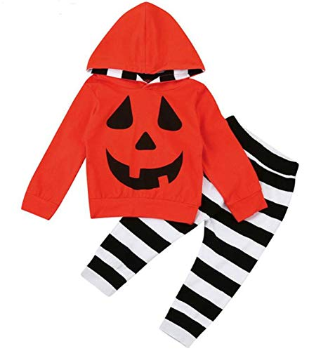 Baby Halloween Outfits Set Pumpkin Hoodie Tops Blouse +Striped Pants 2Pcs Clothes Set (Red, 6-12 Months)