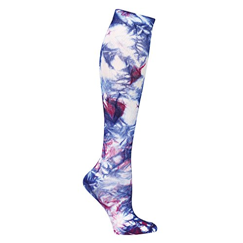 Nurse Mates Women's 12-14 Mmhg Compression Trouser Sock Navy Raspberry Tie Die