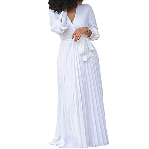 Bodycon4U Womens Pleated Long Sleeve V Neck Party Cocktail Long Maxi White Shirt Dress with Belt
