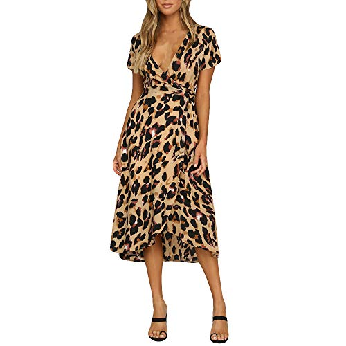Usstore  Womens Leopard Boho Maxi Dress Fashion Sexy V-Neck Short Sleeve Splice Bifurcation Holiday Wrap Party Dress (XL, Brown)