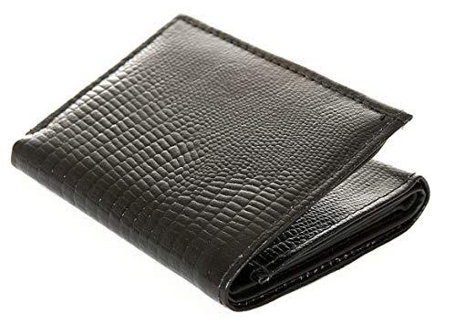 Lizard Embossed Wallet - NEW! Genuine Leather Trifold Wallet lizard embossed 6 Credit Card Slots Men's Black