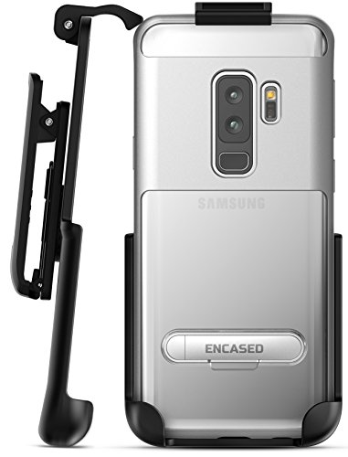 Samsung Galaxy S9 Plus Clear Case with Holster, Encased [Reveal Series] Slim Fit Transparent Cover with Metallic and Kickstand Outer Frame for Samsung Galaxy S9+ (2018 Release) Crystal Silver