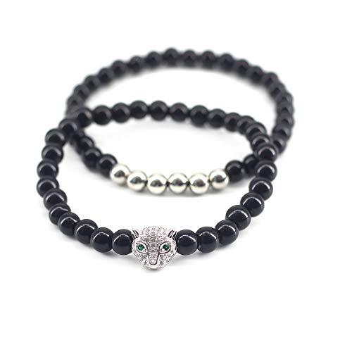 - 2 Pcs Black Bracelet Friendship Couple Bracelet Cute Leopard Stretch Bracelet Stackable Charm Bracelet Set for Men Women