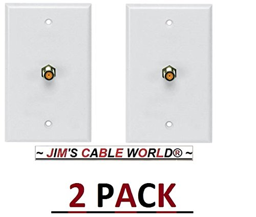 2 Pack Perfect Vision Digital TV Coaxial Cable Wall Plates W/ F-Type Barrel sold By JIM'S CABLE WORLD