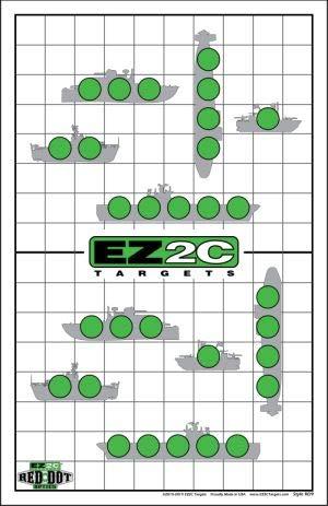 EZ2C Targets Red Dot Optics Style 9 - Sink The Boats! Shooting Range Fun Game (25 Pack) EZ2C Green