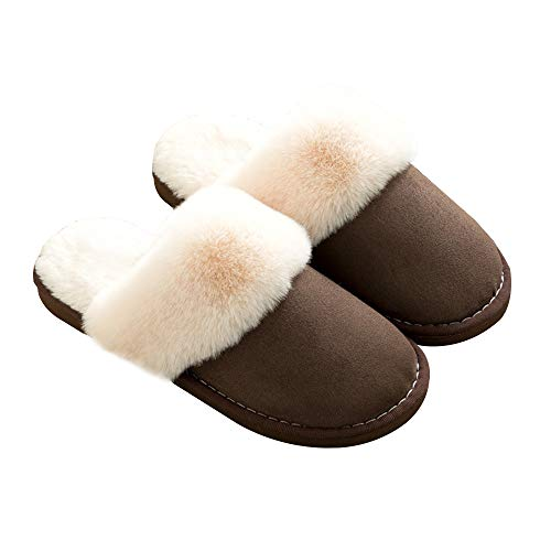 Fur Indoor Anti Slipper Outdoor Slip Sole amp; Memory Foam House Coffee Suede On Lined Skid Fluffy Womens 8v4Odxwqq