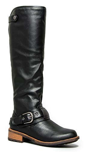 Snooki Black Dress Costumes (Knee High Flat Riding Boot - Vegan Leather Pull On – Comfortable Cosplay Costume Boot - Low Heel Shoe)