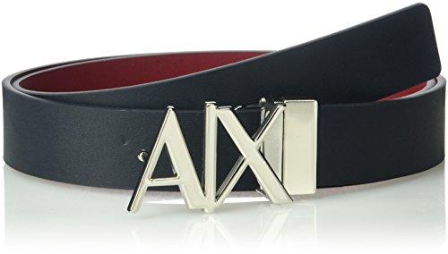Armani Exchange Men's Skinny Leather Logo Belt, Navy/Rhubarb, 28