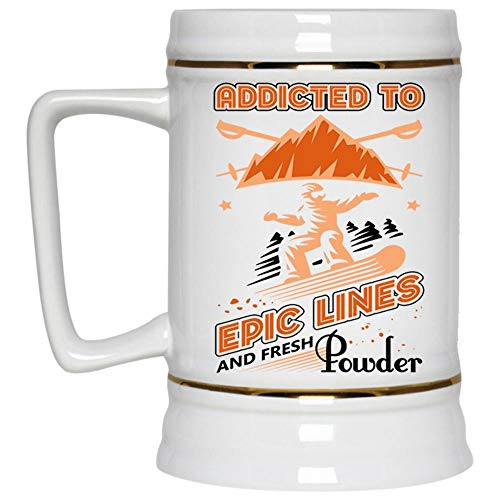 Awesome Skiers Mug, Cool Ski Beer Mug, Addicted To Epic Lines And Fresh Powder Beer Stein 22oz, Birthday gift for Beer Lovers (Beer - Daddy Skis Powder