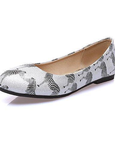 5 7 eu37 Flats zapatos plata white Casual rosa talón mujer uk4 de PDX plano us6 sintética redonda de 5 piel punta 5 cn37 blanco Hvw45q1U