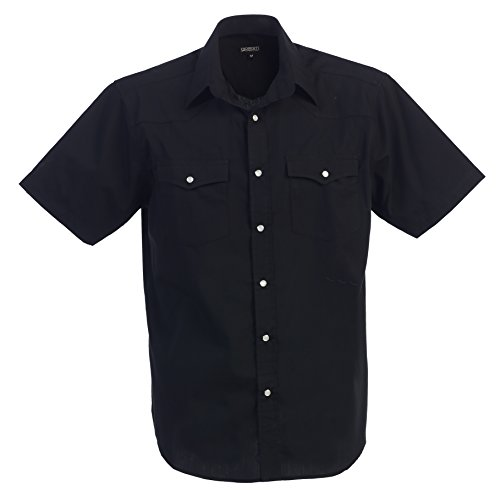 Gioberti Mens Casual Western Solid Short Sleeve Shirt with Pearl Snaps, Black, Large