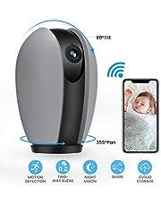 WLAN IP Kamera, MECO ELEVERDE HD 1080P Überwachungskamera mit Nachtsicht, Zwei-Wege Audio, Bewegungserkennung und Fernalarm, Sicherheitskamera Home Indoor-Kamera für Haustier/Baby Monitor