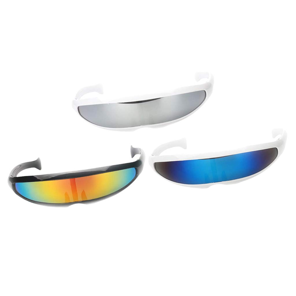 D DOLITY 3//pack Novelty Futuristic Cyclops Sunglasses Mirrored Monoblock Sunglasses