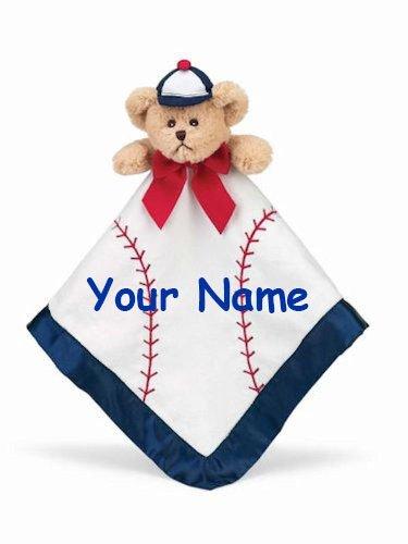 Personalized Bearington Bear Lil Baseball Slugger Baby Snuggler Blanket Blanky - 15 Inches