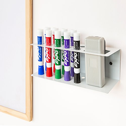 10-Slot Wall-Mounted Metal Dry Erase Marker and Eraser Holder Rack, White by MyGift (Image #1)