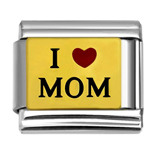 SilverAndJewelry I Heart MOM Charm Link for Italian Charm Bracelet