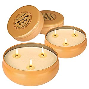 Aku Tonpa Citronella-Kerzen für den Innen- und Außenbereich, 382 g, 3 Dochte, Sojawachs, tragbare Reisedose, Geschenk…