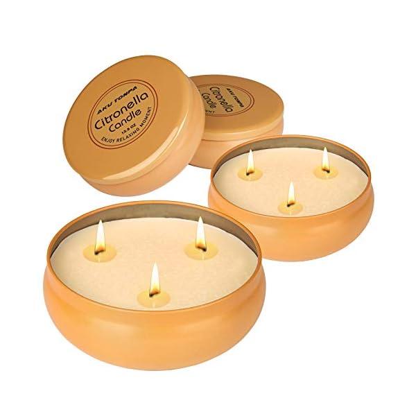 41uDM6%2B7VWL Aku Tonpa Citronella-Kerzen für den Innen- und Außenbereich, 382 g, 3 Dochte, Sojawachs, tragbare Reisedose, Geschenk…
