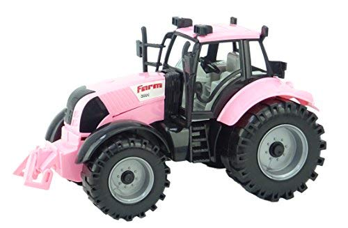 Pink Tractor - Toyland Friction Powered Farm Tractor with Opening Bonnet (Pink)