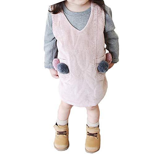 - Dragon Honor Baby Little Girls Pompom Overalls Jumper Skirt Corduroy Dress Pockets (120 (5T), Pink)
