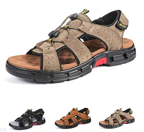 gracosy Men's Sports Sandals, Hiking Outdoor Sandals Summer Fisherman Leather Hook Loop Adjustable Flat Sandals Khaki 8.5 M US
