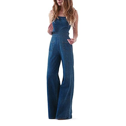 Preself Women's Cross Backless Denim Romper Wide Leg Long Pants Jumpsuit Clubwear (6)