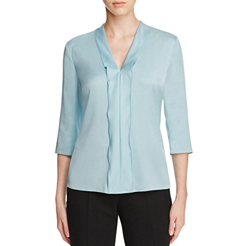 BOSS Hugo Boss Womens Ikarsi Satin Ruffle Blouse Blue 2 by Hugo Boss
