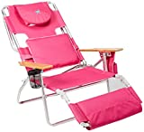 Ostrich Deluxe Padded Sport 3-in-1 Aluminum Beach Chair, Pink (Renewed)