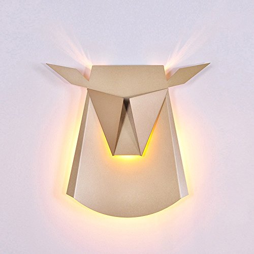 Nordic Postmodern Ngau Tau Deer Head Decoration Wall Lamp Study Bedroom LED Aluminum Alloy Wall Light Bedside Restaurant Aisle Cafe Lighting (including light source) ( Color : Gold ) by CHUANGCHUANG (Image #6)'
