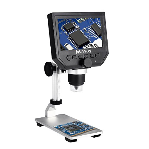 MWAY Portable Digital Microscope 3.6MP 600x Sensor Zoom LCD kit 1080P/720P/VGA Stereo Camera Vedio Microscope with Metal Bracket for QC/Industrial/Collection Inspection Multi Use by M WAY