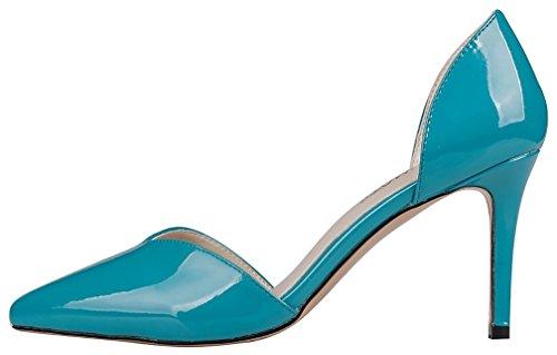 Calaier Mujer Cabank Tacón De Aguja 8.5CM Sintético Ponerse Sandalias de vestir Zapatos Azul