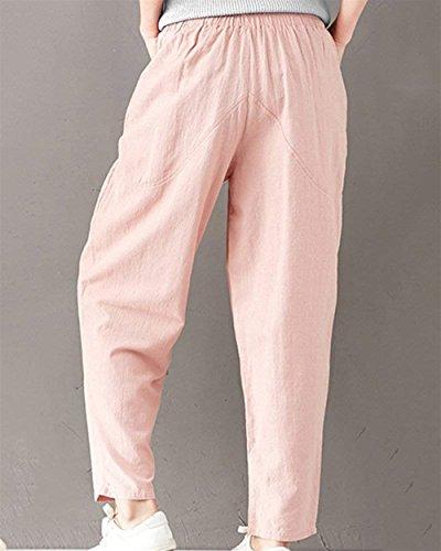 Elastica Pink Estivi Fashion Di Stoffa Accogliente Monocromo Libero Harem Tempo Sciolto Donne Unique Pantaloni Light Vita Classiche Lino Signore Eleganti HPF1wdHq