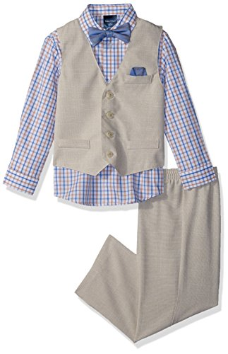 Nautica Boys' 4-Piece Vest Set with Dress Shirt, Bow Tie, Vest, and Pants, Khaki Linen, 7 (Boys Suit Linen For)