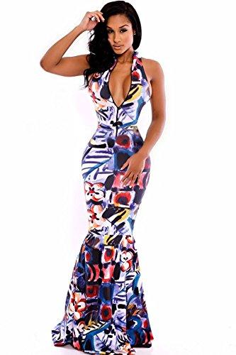 Coloré Imprimé Fermeture Éclair avant Jupe Sirène Maxi robe maxi robe d'été Party Club Wear Robe Longue Avec Jersey Taille UK 10–12–EU 38–40