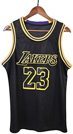 メンズバスケットボールトップ、レイカーズ23#ジェームススリーブレススポーツトップ、ブラックスウェットアブソーベント