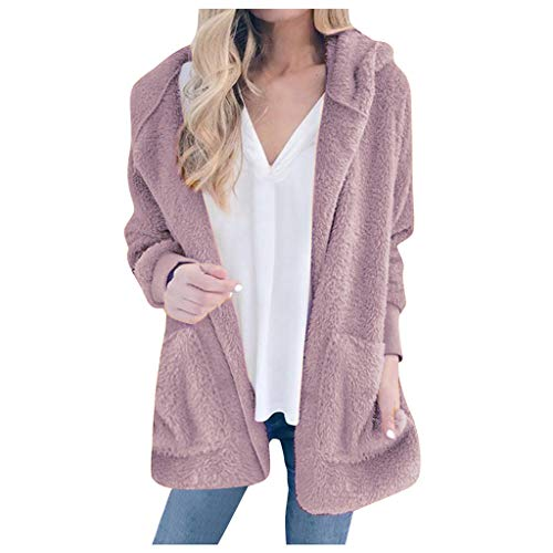 Loosebee◕‿◕ Autumn and Winter New Solid Color Plush Hooded Fashion Cardigan Coat Female Hooded Thick Long Pink (Justin Gypsy Girl Boots)