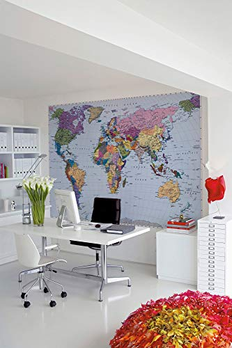 Map Mural - Brewster 4-050 World Map 4 Panel Mural with Paste, 8-Foot 10-Inch by 6-Foot 2-Inch